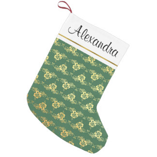 Gold Foil and Green Hawaiian Tropical Flowers Small Christmas Stocking