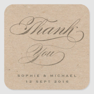 Gold foil and kraft calligraphy thank you sticker