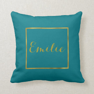 Gold Foil and Teal Custom Pillow