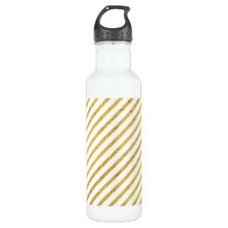 Gold Foil and White Diagonal Stripes Pattern 710 Ml Water Bottle