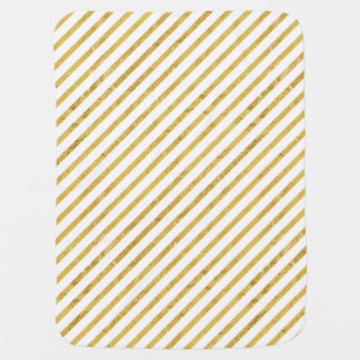 Gold Foil and White Diagonal Stripes Pattern Baby Blanket