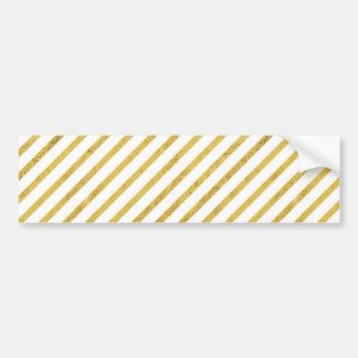 Gold Foil and White Diagonal Stripes Pattern Bumper Sticker