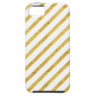 Gold Foil and White Diagonal Stripes Pattern Case For The iPhone 5