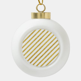 Gold Foil and White Diagonal Stripes Pattern Ceramic Ball Christmas Ornament