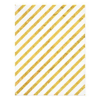 Gold Foil and White Diagonal Stripes Pattern Flyer
