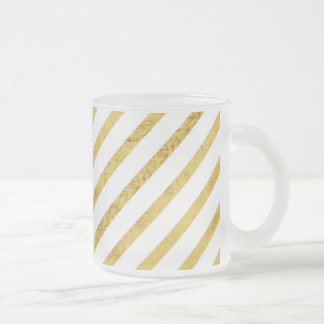Gold Foil and White Diagonal Stripes Pattern Frosted Glass Coffee Mug