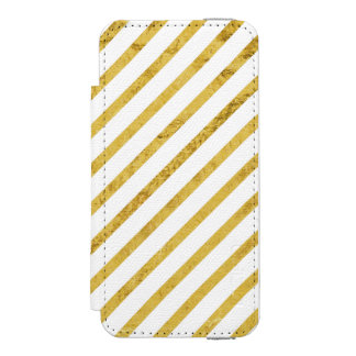 Gold Foil and White Diagonal Stripes Pattern Incipio Watson™ iPhone 5 Wallet Case