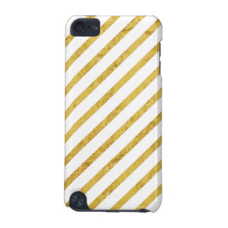 Gold Foil and White Diagonal Stripes Pattern iPod Touch 5G Covers