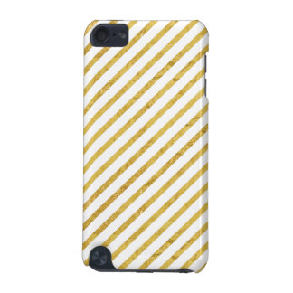 Gold Foil and White Diagonal Stripes Pattern iPod Touch (5th Generation) Cover