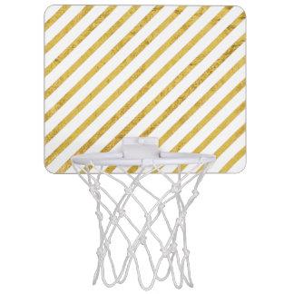 Gold Foil and White Diagonal Stripes Pattern Mini Basketball Hoop
