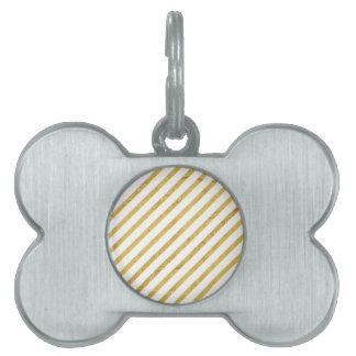 Gold Foil and White Diagonal Stripes Pattern Pet ID Tag