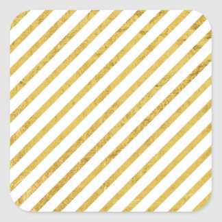 Gold Foil and White Diagonal Stripes Pattern Square Sticker
