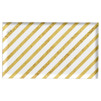 Gold Foil and White Diagonal Stripes Pattern Table Card Holders