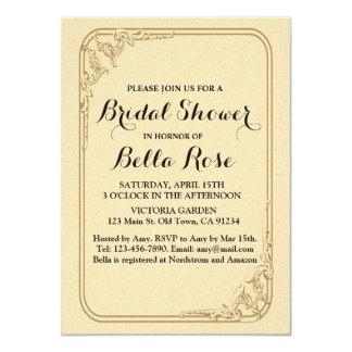 Gold foil art deco bridal shower invites gld1