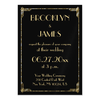 Gold Foil Art Deco Wedding Invitations Magnets Magnetic Invitations