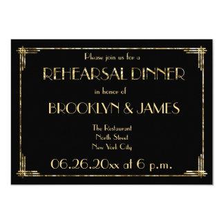 Gold Foil Art Deco Wedding Rehearsal Invites