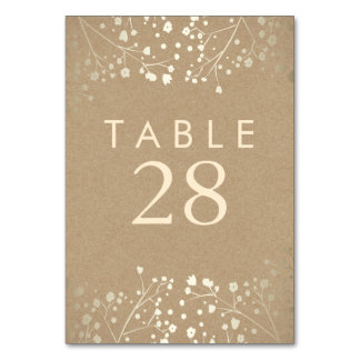Gold Foil Baby's Breath Craft Wedding Table Number