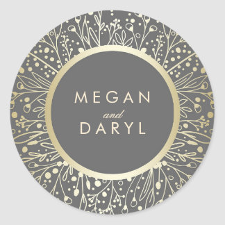 Gold Foil Baby's Breath Floral Frame Wedding Round Sticker