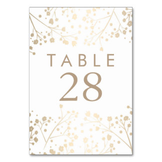 Gold Foil Baby's Breath Wedding Table Numbers Table Card