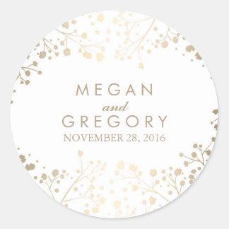 Gold Foil Baby's Breath White Wedding Round Sticker