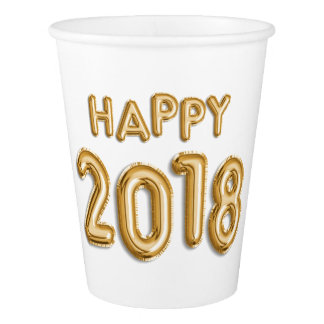 Gold Foil Balloons Happy 2018 | New Year Eve Party Paper Cup