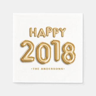 Gold Foil Balloons Happy 2018 Personalized Disposable Serviette