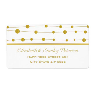 Gold foil beads and stripe modern wedding shipping label