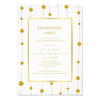 Gold foil beads modern wedding engagement party 13 cm x 18 cm invitation card