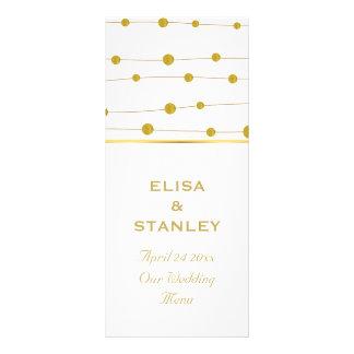 Gold foil beads modern wedding menu card