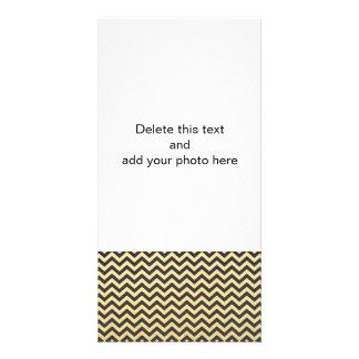 Gold Foil Black Chevron Pattern Customised Photo Card