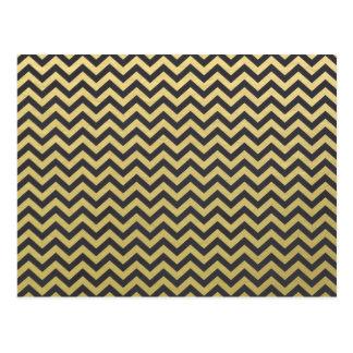 Gold Foil Black Chevron Pattern Postcard