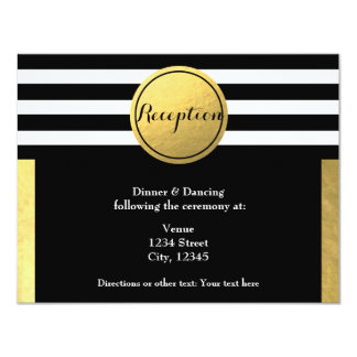 Gold Foil & Black Circle Wedding Reception Card