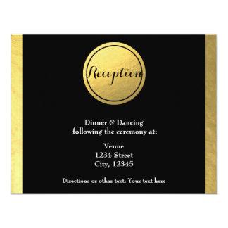 Gold Foil & Black Circle Wedding Reception Card 11 Cm X 14 Cm Invitation Card