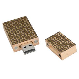 Gold Foil Black Polka Dots Pattern Wood USB 2.0 Flash Drive