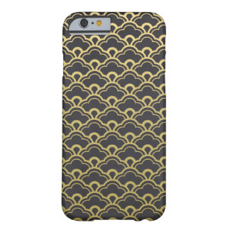 Gold Foil Black Scalloped Shells Pattern Barely There iPhone 6 Case