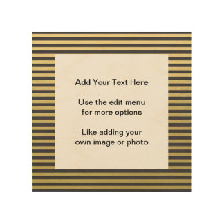 Gold Foil Black Stripes Pattern Wood Wall Art