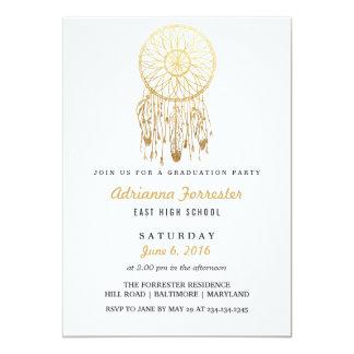 Gold Foil Bohemian Dream Catcher Graduation Party 13 Cm X 18 Cm Invitation Card