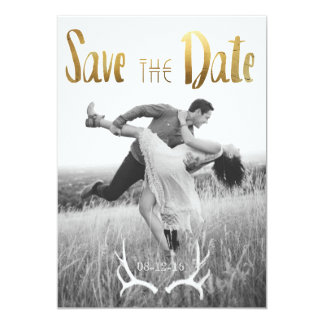 Gold Foil Bohemian Glamour | Photo Save the Date Card