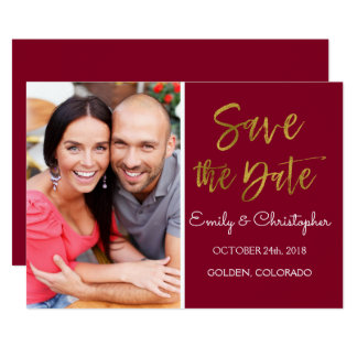 Gold Foil & Burgundy Marsala Save the Date Photo Card