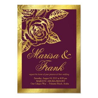 Gold Foil Burgundy Vintage Botanical Flowers 13 Cm X 18 Cm Invitation Card