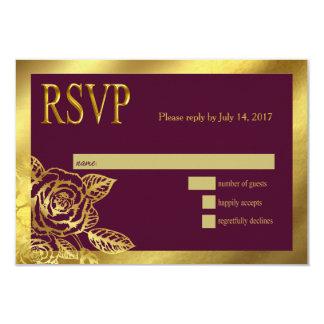 Gold Foil Burgundy Vintage Botanical RSVP 9 Cm X 13 Cm Invitation Card