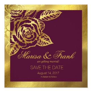 Gold Foil Burgundy Vintage Botanical Save the Date 13 Cm X 13 Cm Square Invitation Card