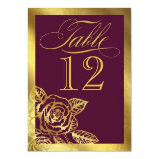 Gold Foil Burgundy Vintage Botanical Table Card 11 Cm X 16 Cm Invitation Card