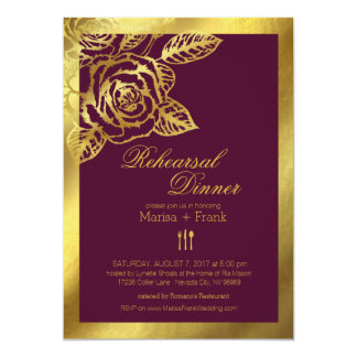 Gold Foil Burgundy Vintage Roses Rehearsal Dinner 13 Cm X 18 Cm Invitation Card