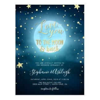 Gold Foil Calligraphy Starry Night Sky Wedding Postcard