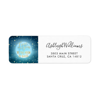 Gold Foil Calligraphy Starry Night Sky Wedding Return Address Label