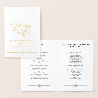 Gold Foil Celebration of Life Funeral Program Foil Card