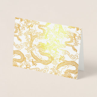 Gold Foil Chinese Dragon Pattern Foil Card