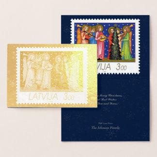 Gold Foil Christmas Stamp Artwork from Latvia #1 Foil Card