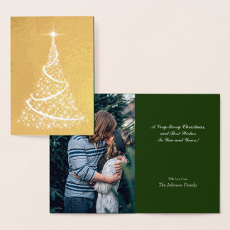 Gold Foil Christmas Tree & Monogram Foil Card